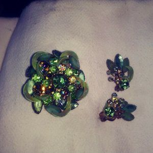 Vintage Green Tone Brooch and earing set